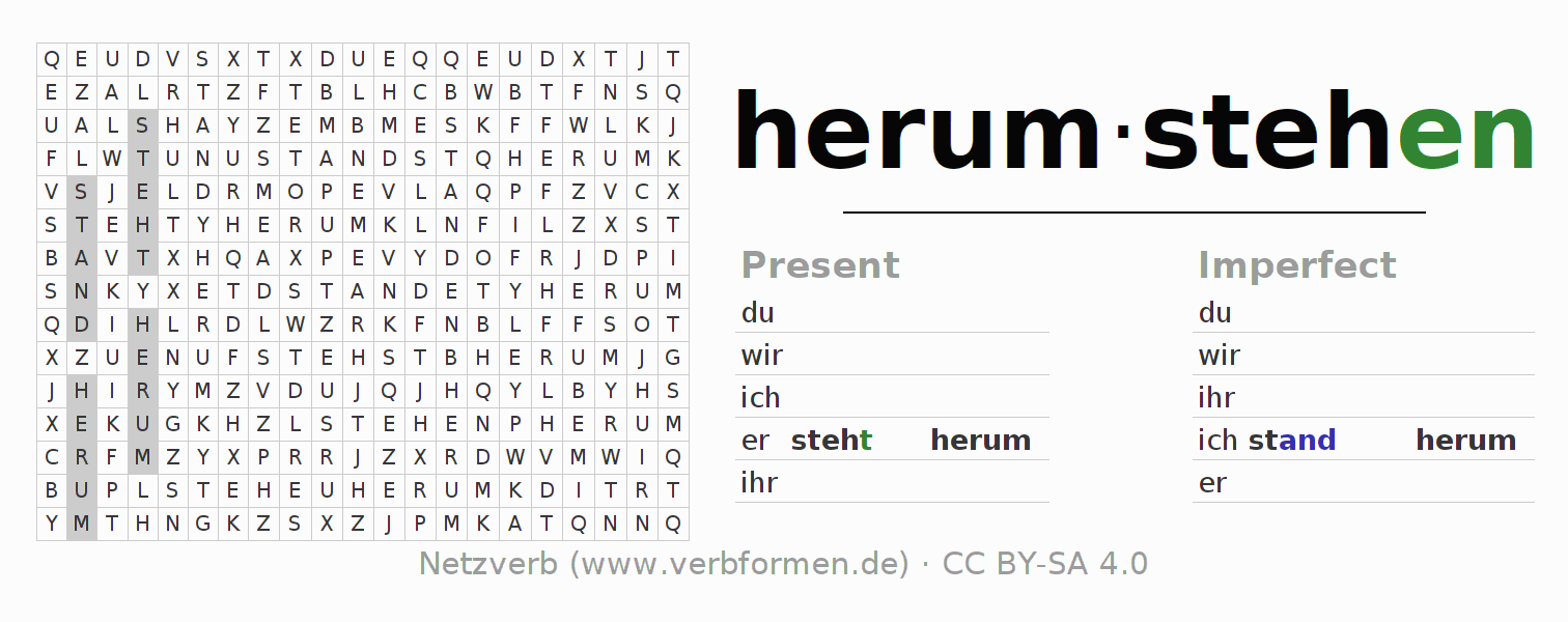 Word search puzzle for the conjugation of the verb herumstehen (hat)