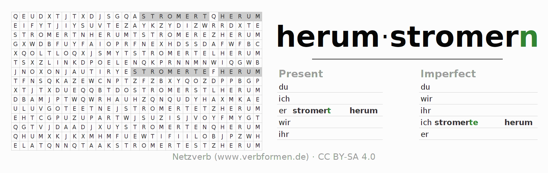 Word search puzzle for the conjugation of the verb herumstromern