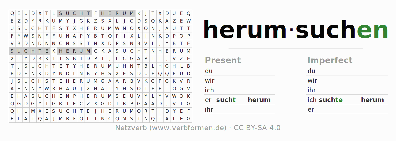 Word search puzzle for the conjugation of the verb herumsuchen