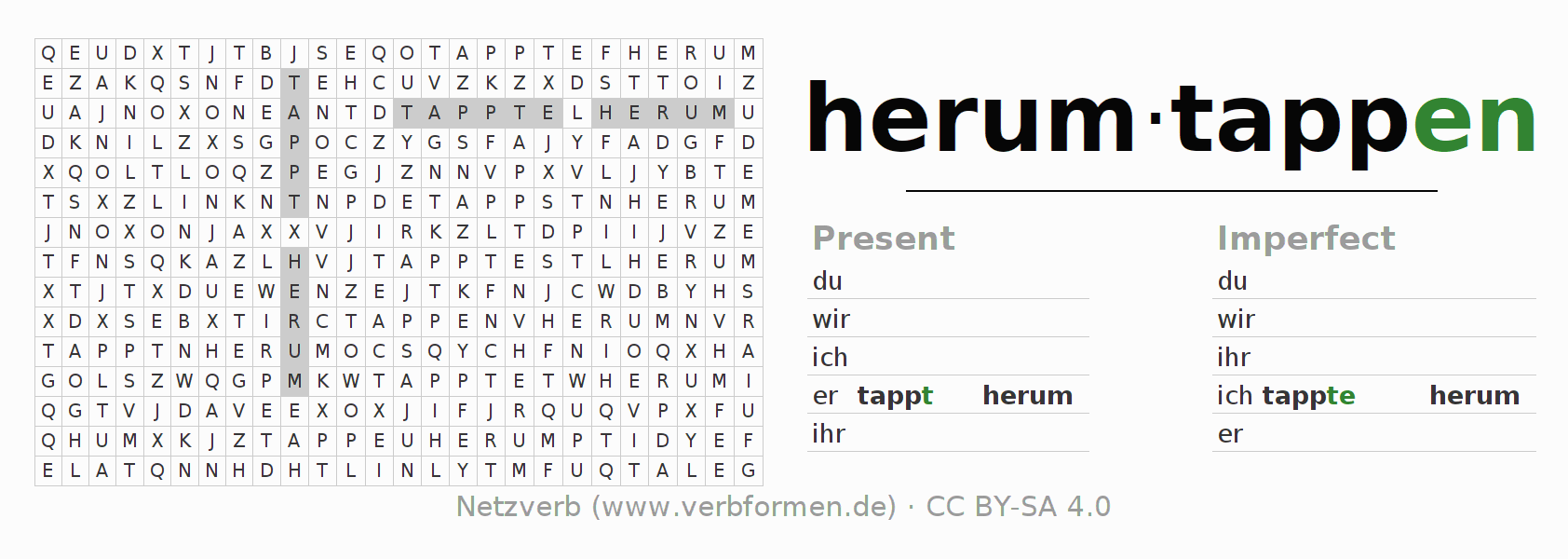 Word search puzzle for the conjugation of the verb herumtappen