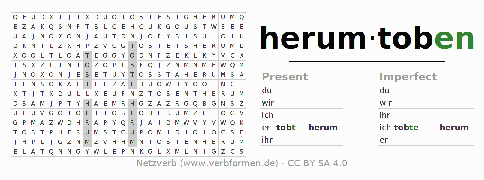 Word search puzzle for the conjugation of the verb herumtoben (ist)