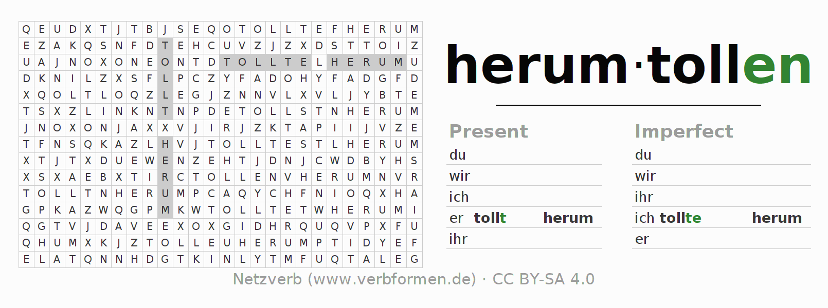 Word search puzzle for the conjugation of the verb herumtollen