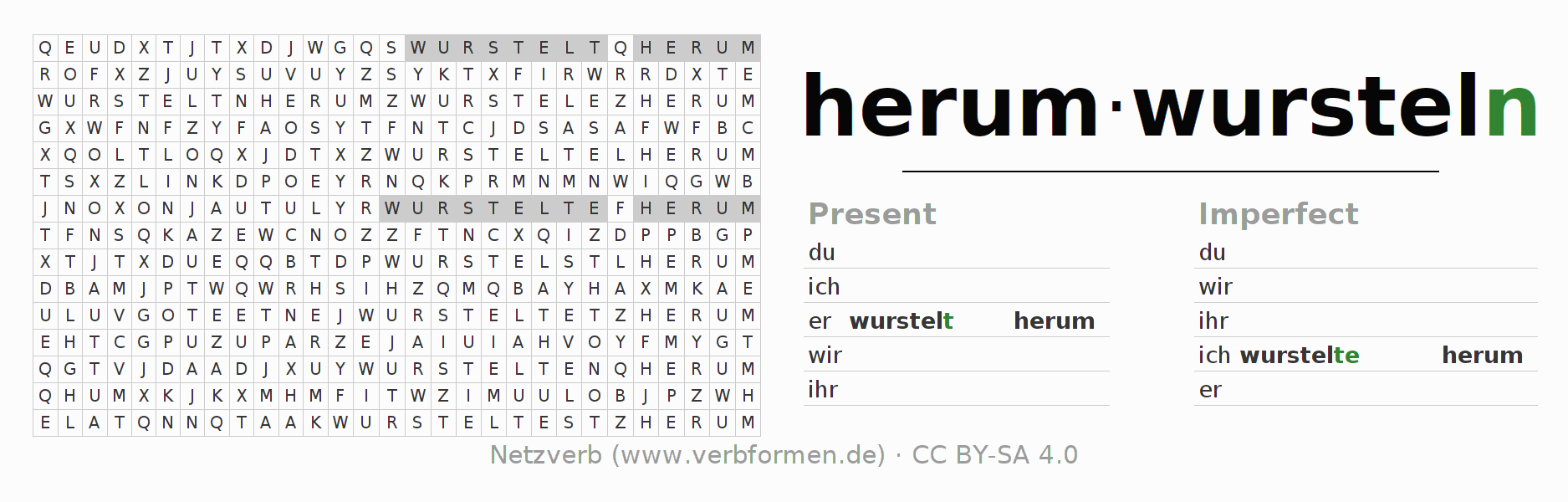 Word search puzzle for the conjugation of the verb herumwursteln