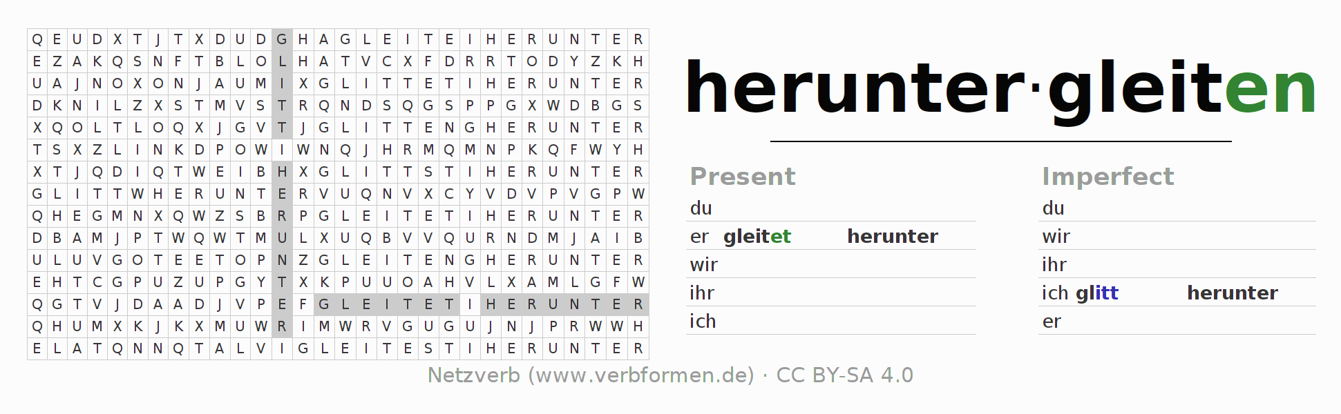 Word search puzzle for the conjugation of the verb heruntergleiten