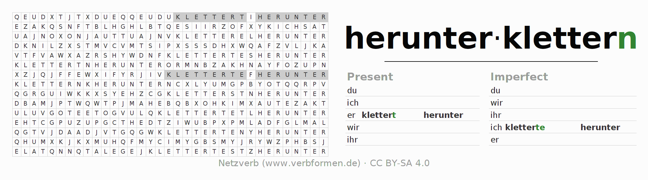 Word search puzzle for the conjugation of the verb herunterklettern