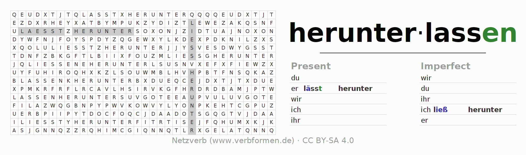 Word search puzzle for the conjugation of the verb herunterlassen
