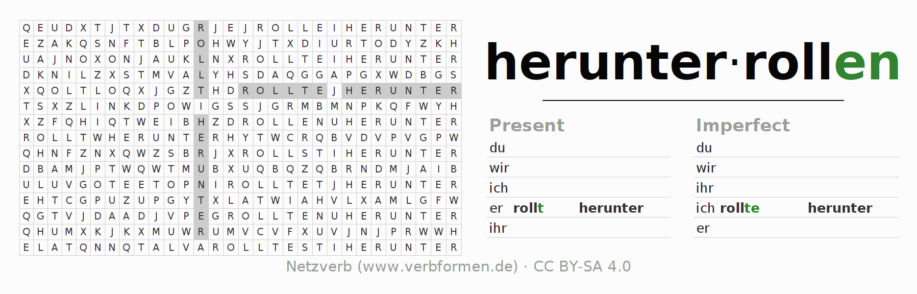 Word search puzzle for the conjugation of the verb herunterrollen (ist)