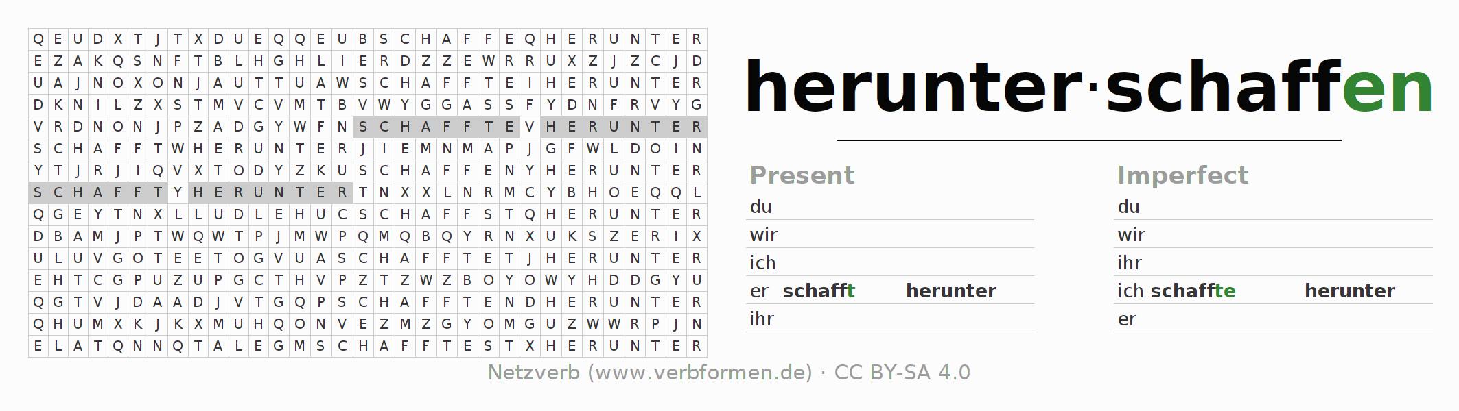 Word search puzzle for the conjugation of the verb herunterschaffen