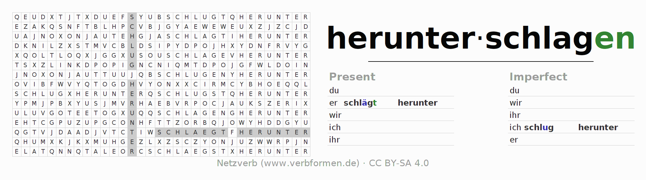 Word search puzzle for the conjugation of the verb herunterschlagen (hat)