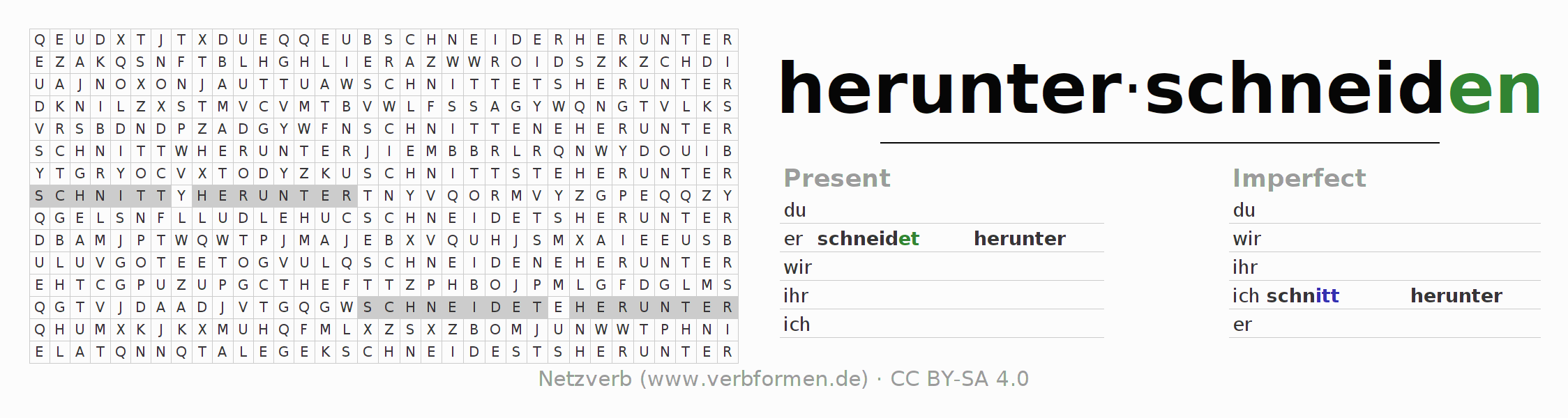 Word search puzzle for the conjugation of the verb herunterschneiden