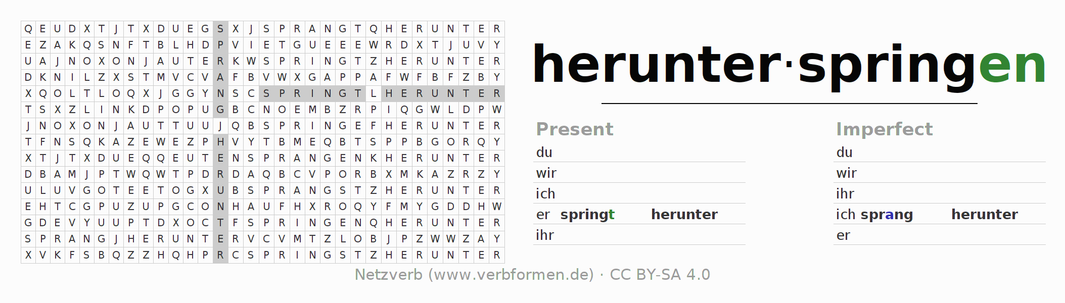 Word search puzzle for the conjugation of the verb herunterspringen