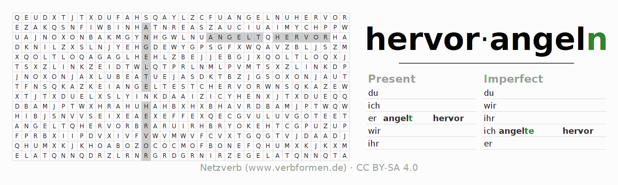 Word search puzzle for the conjugation of the verb hervorangeln
