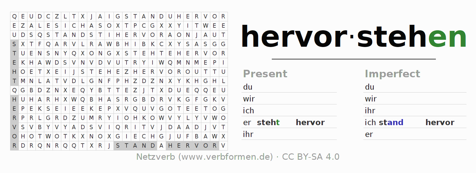 Word search puzzle for the conjugation of the verb hervorstehen (hat)