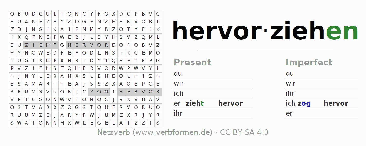 Word search puzzle for the conjugation of the verb hervorziehen
