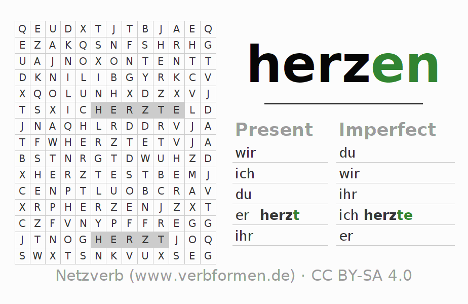 Word search puzzle for the conjugation of the verb herzen