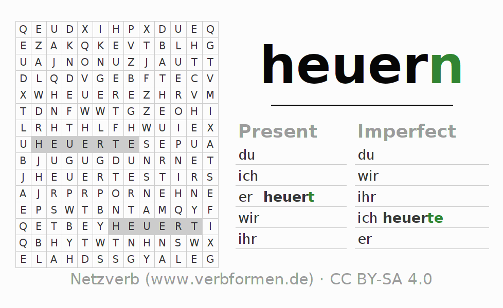 Word search puzzle for the conjugation of the verb heuern