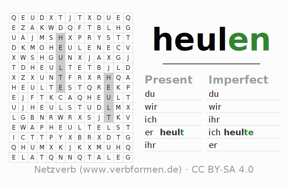 Word search puzzle for the conjugation of the verb heulen