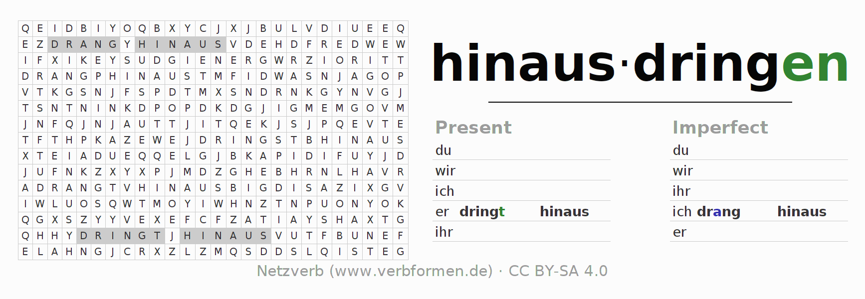 Word search puzzle for the conjugation of the verb hinausdringen