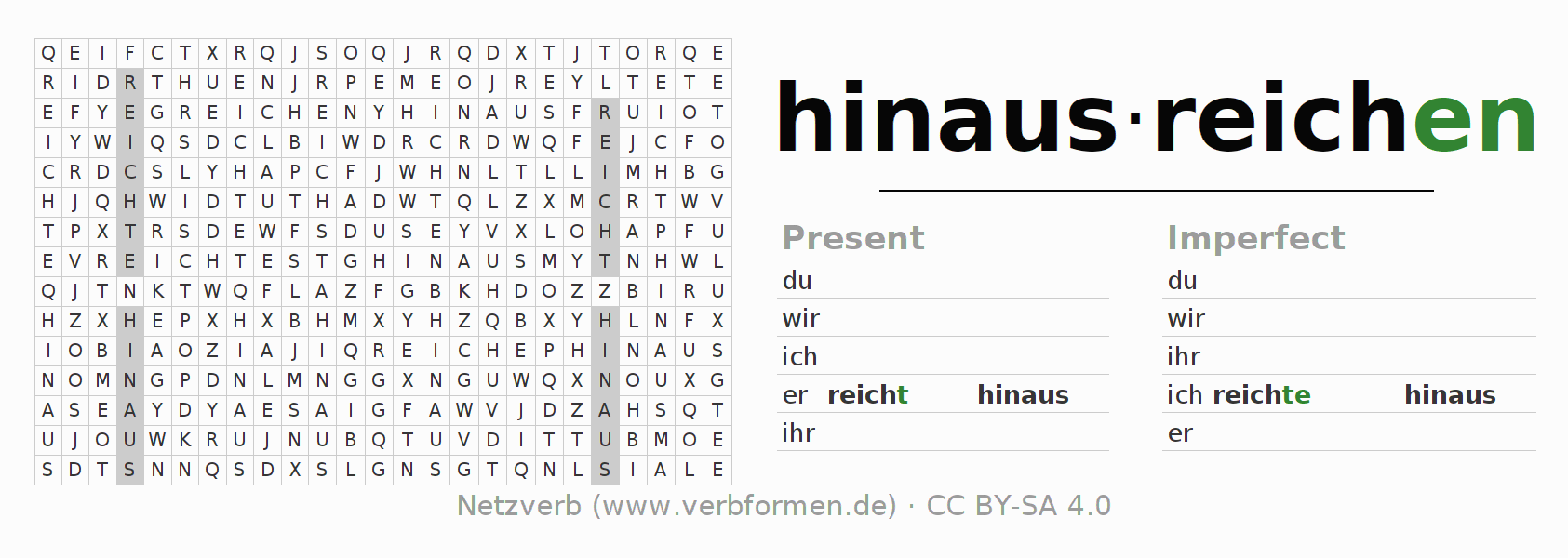 Word search puzzle for the conjugation of the verb hinausreichen