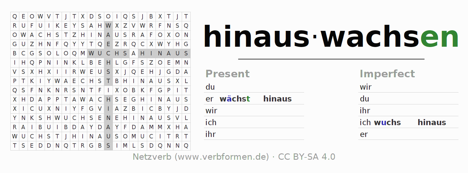 Word search puzzle for the conjugation of the verb hinauswachsen