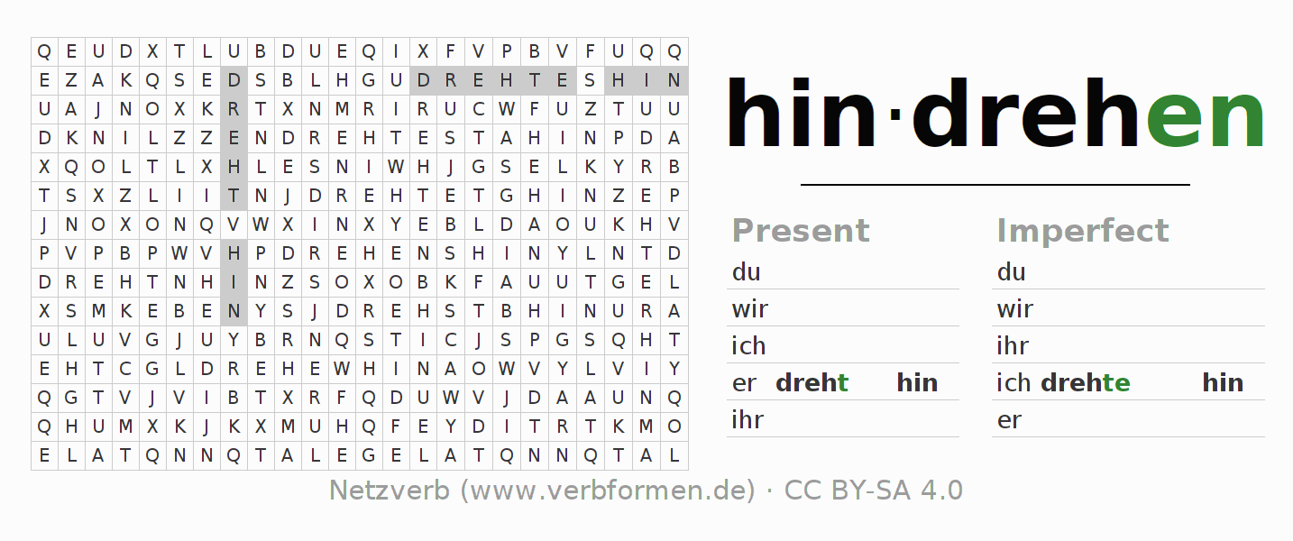 Word search puzzle for the conjugation of the verb hindrehen