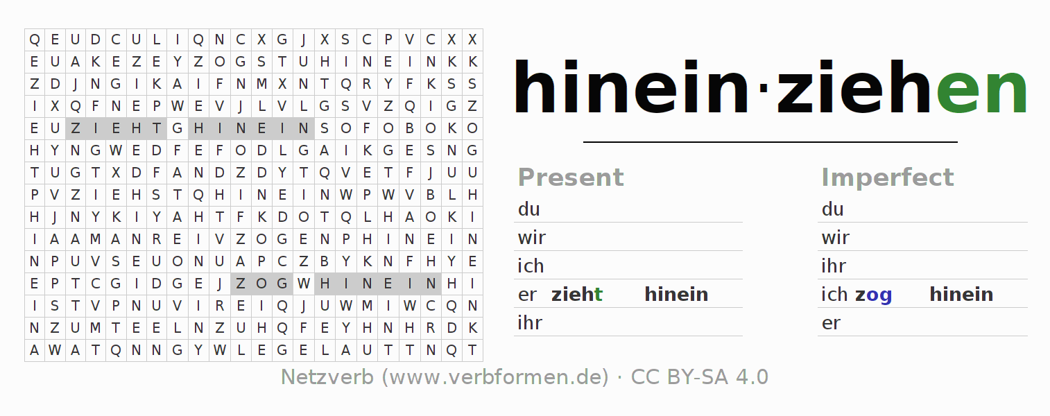 Word search puzzle for the conjugation of the verb hineinziehen (ist)