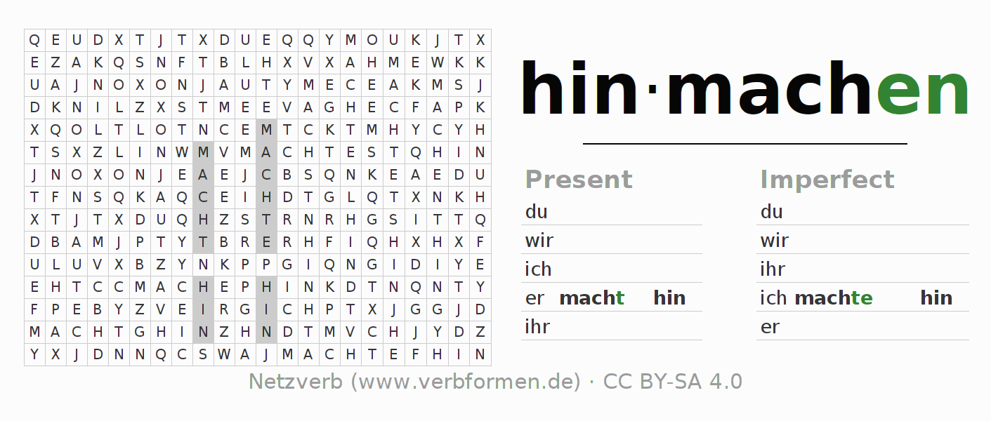Word search puzzle for the conjugation of the verb hinmachen (hat)