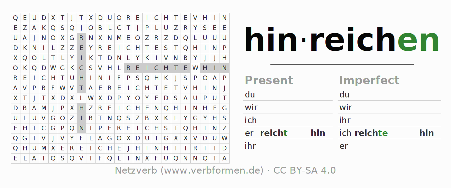 Word search puzzle for the conjugation of the verb hinreichen