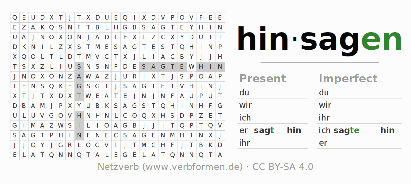 Word search puzzle for the conjugation of the verb hinsagen