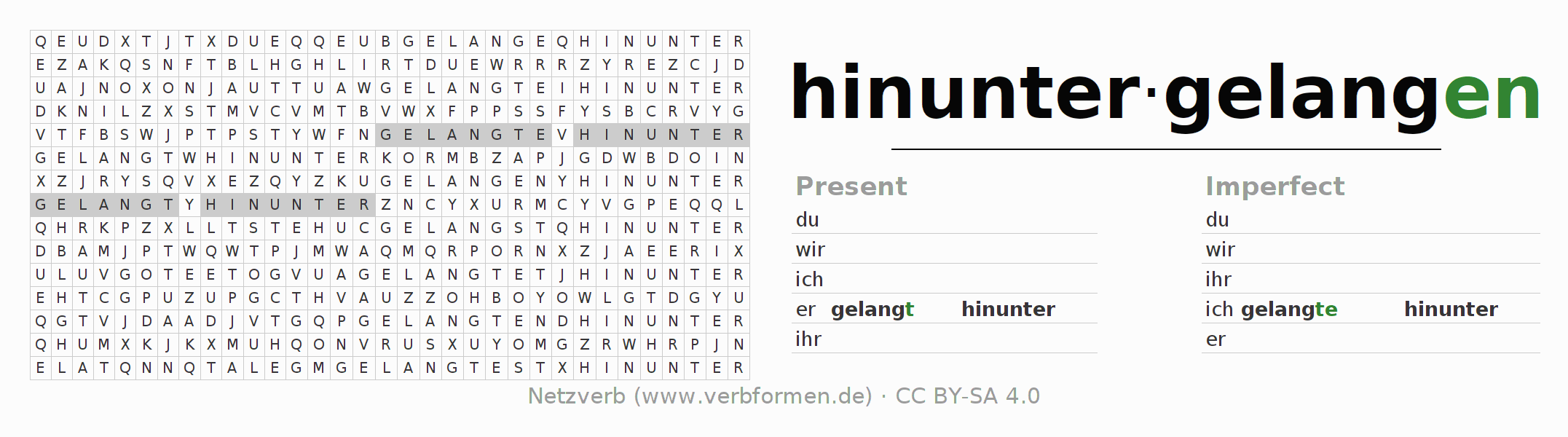 Word search puzzle for the conjugation of the verb hinuntergelangen