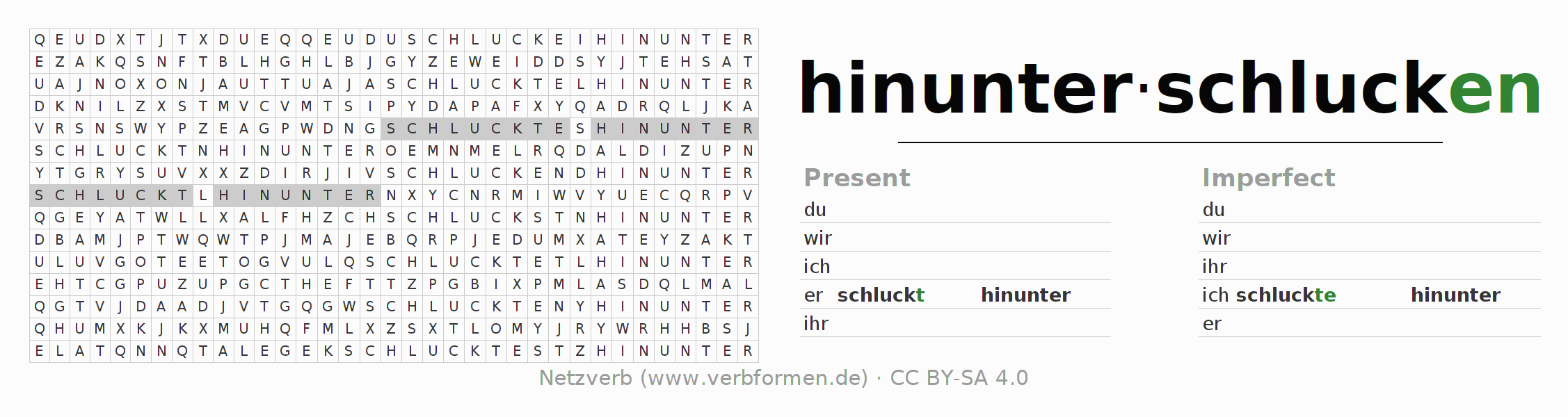 Word search puzzle for the conjugation of the verb hinunterschlucken