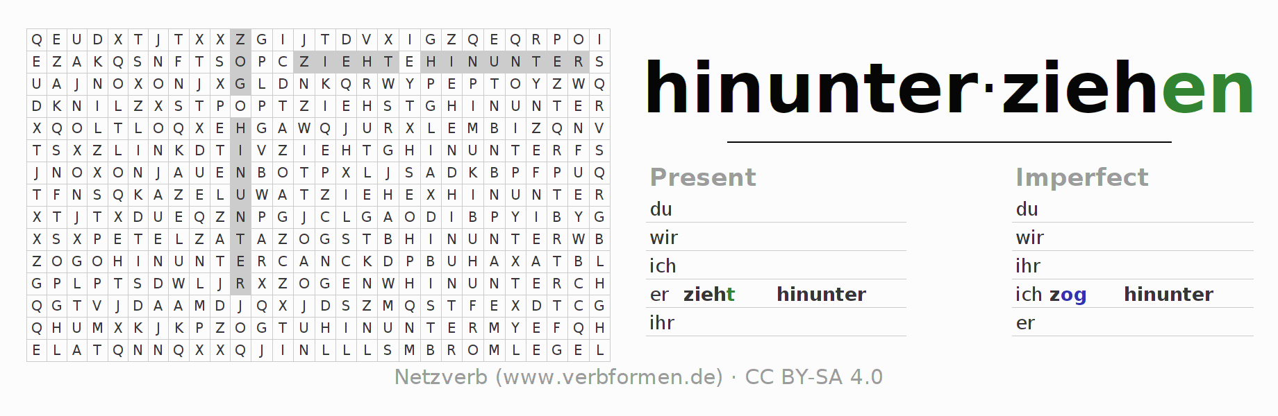 Word search puzzle for the conjugation of the verb hinunterziehen (hat)