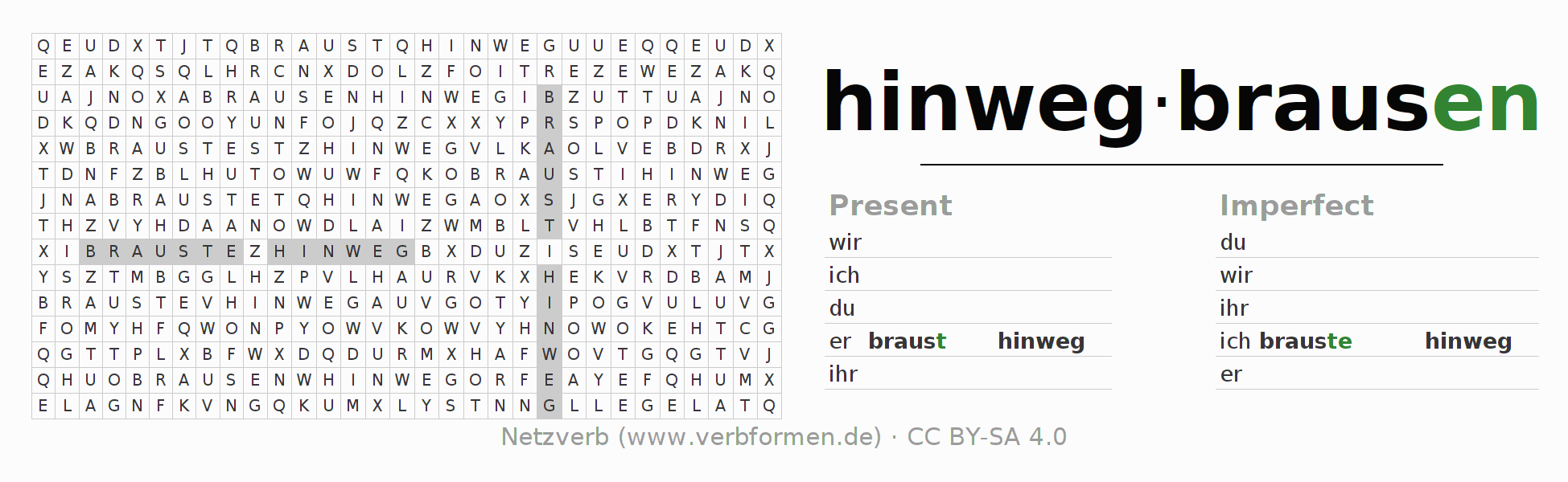 Word search puzzle for the conjugation of the verb hinwegbrausen