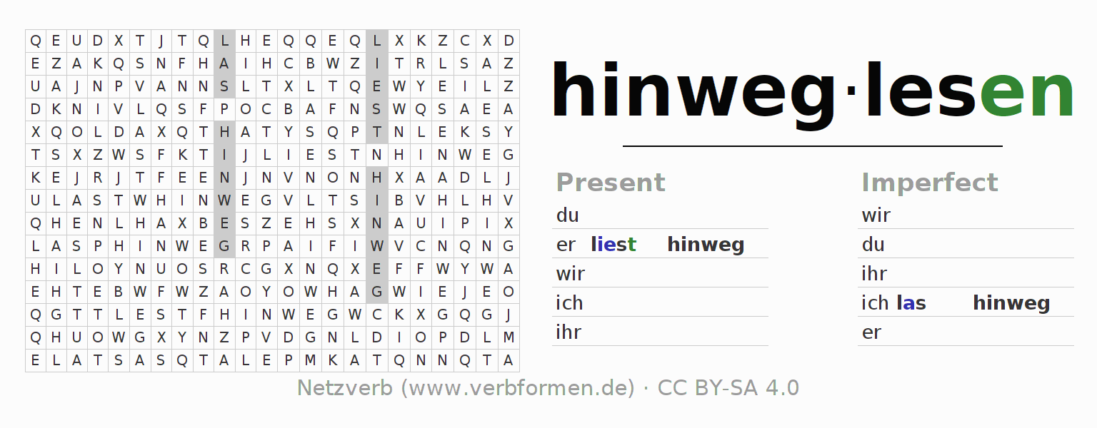 Word search puzzle for the conjugation of the verb hinweglesen