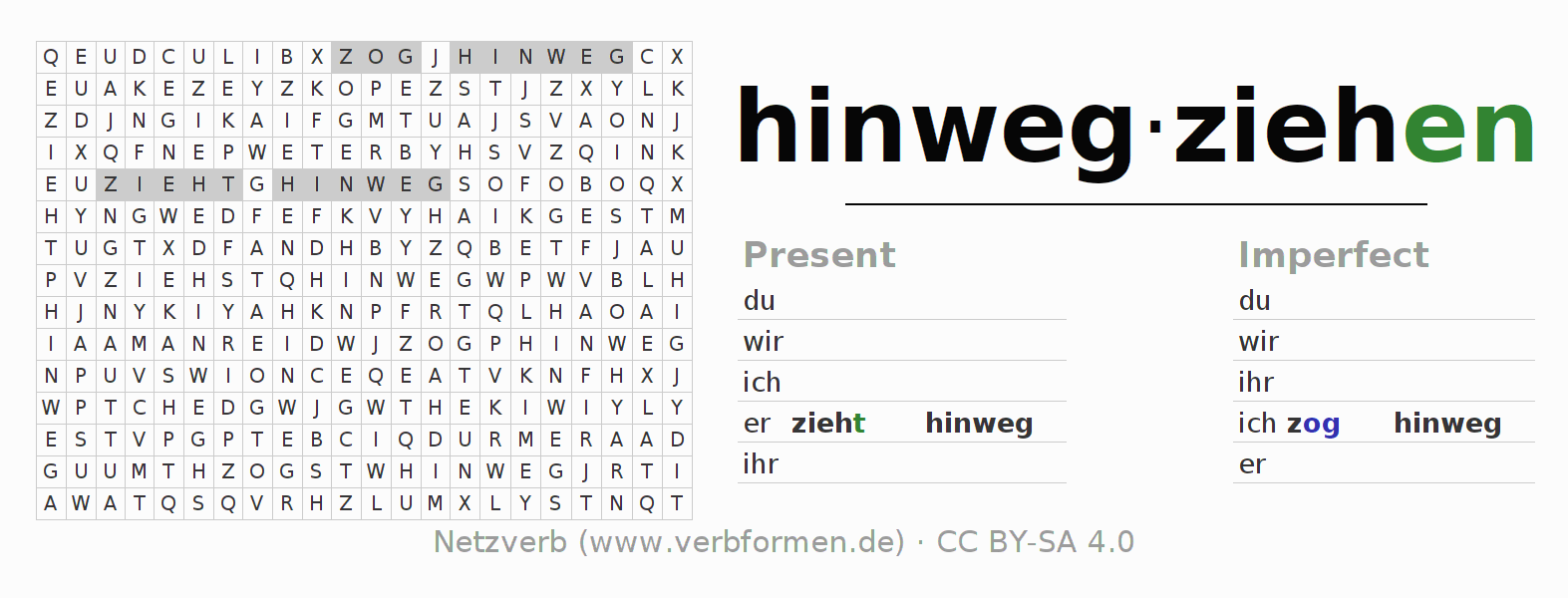 Word search puzzle for the conjugation of the verb hinwegziehen