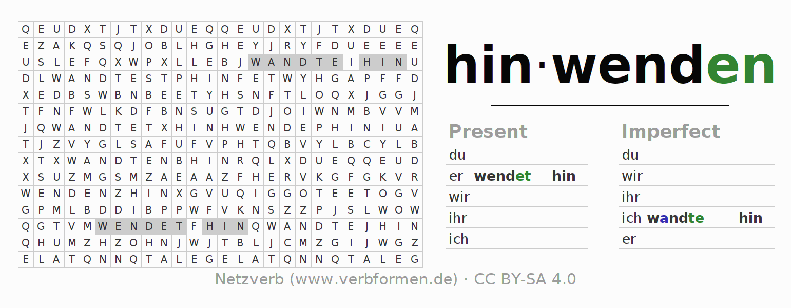 Word search puzzle for the conjugation of the verb hinwenden