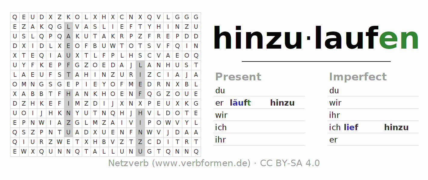 Word search puzzle for the conjugation of the verb hinzulaufen