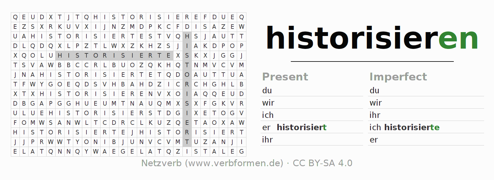 Word search puzzle for the conjugation of the verb historisieren