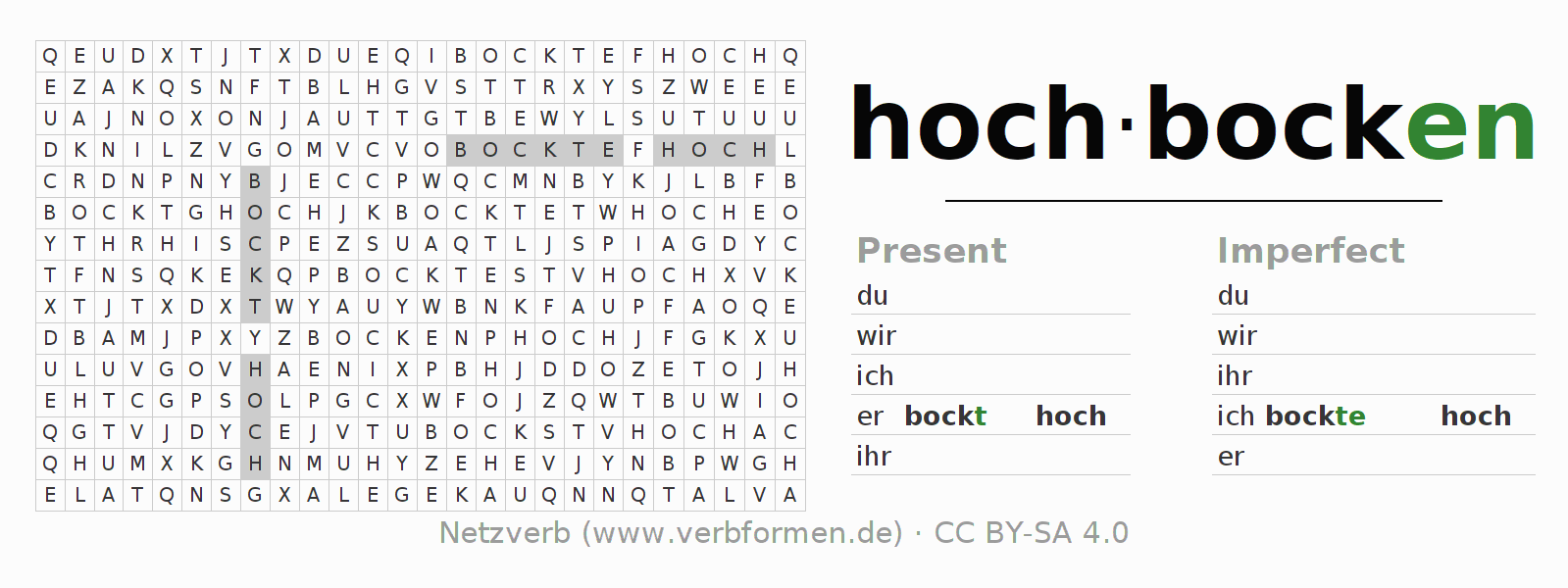 Word search puzzle for the conjugation of the verb hochbocken