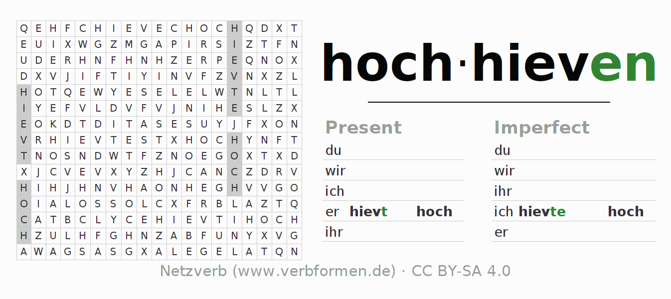 Word search puzzle for the conjugation of the verb hochhieven