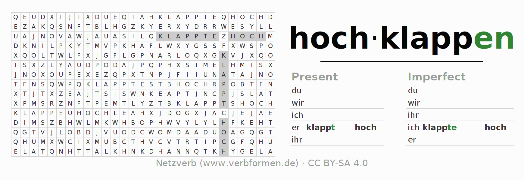 Word search puzzle for the conjugation of the verb hochklappen (hat)