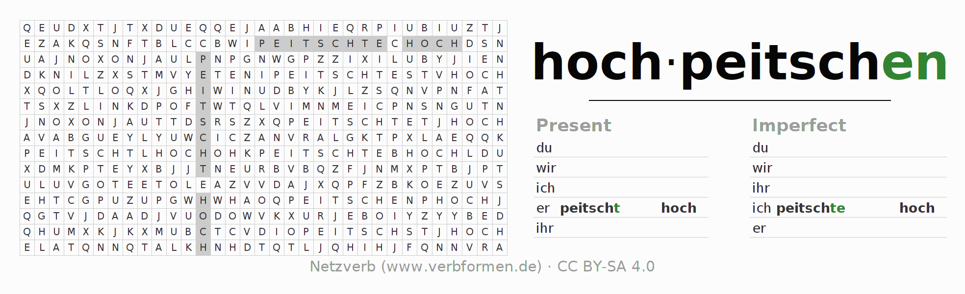 Word search puzzle for the conjugation of the verb hochpeitschen
