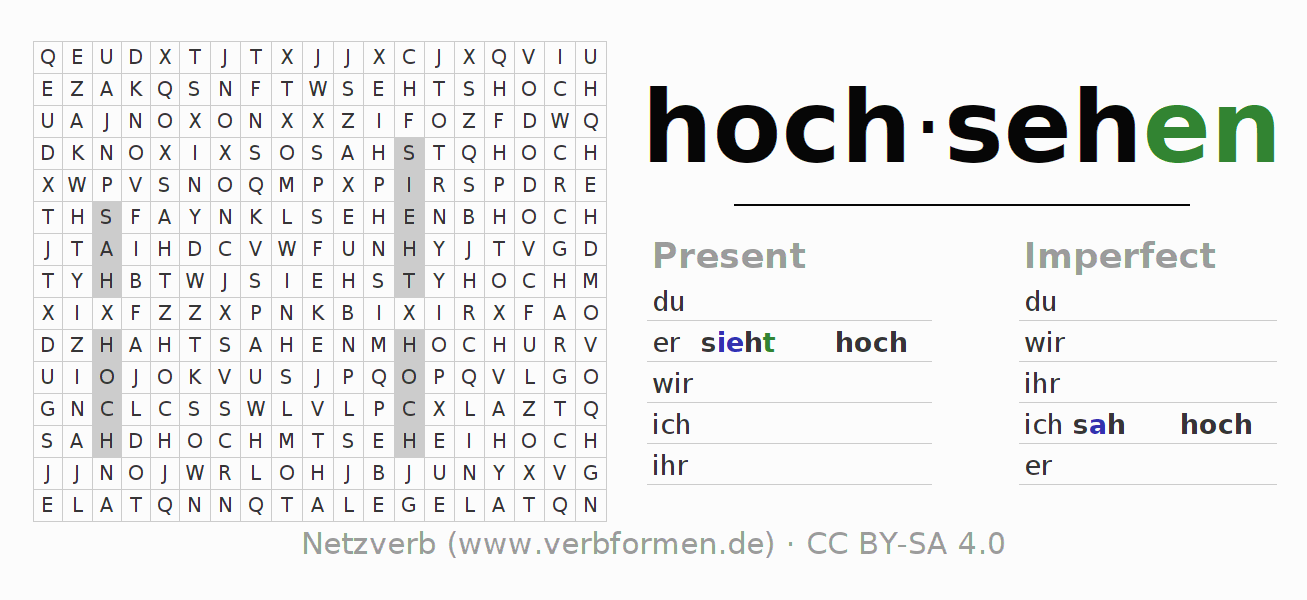 Word search puzzle for the conjugation of the verb hochsehen
