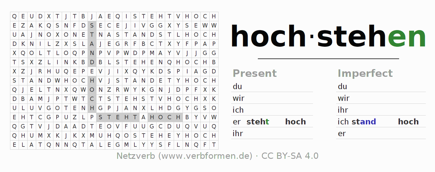 Word search puzzle for the conjugation of the verb hochstehen (ist)