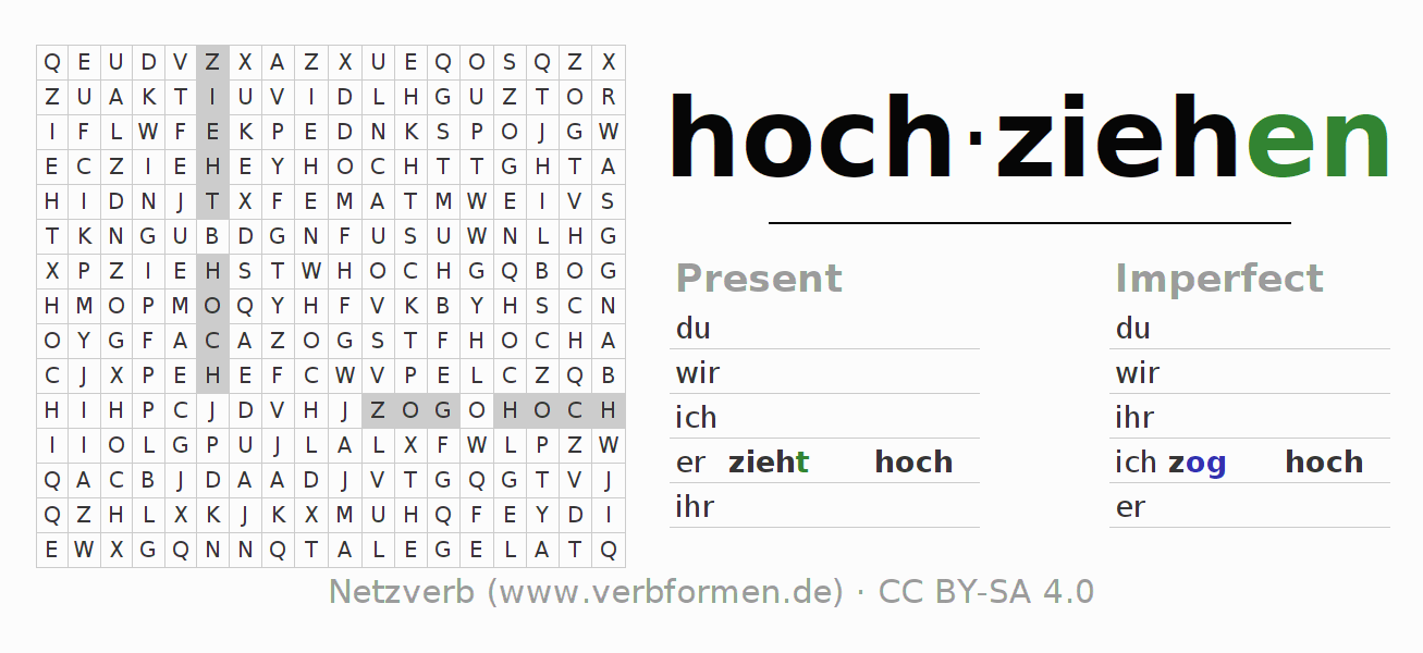 Word search puzzle for the conjugation of the verb hochziehen (ist)