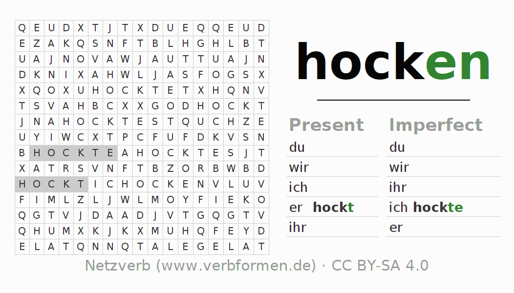 Word search puzzle for the conjugation of the verb hocken (hat)