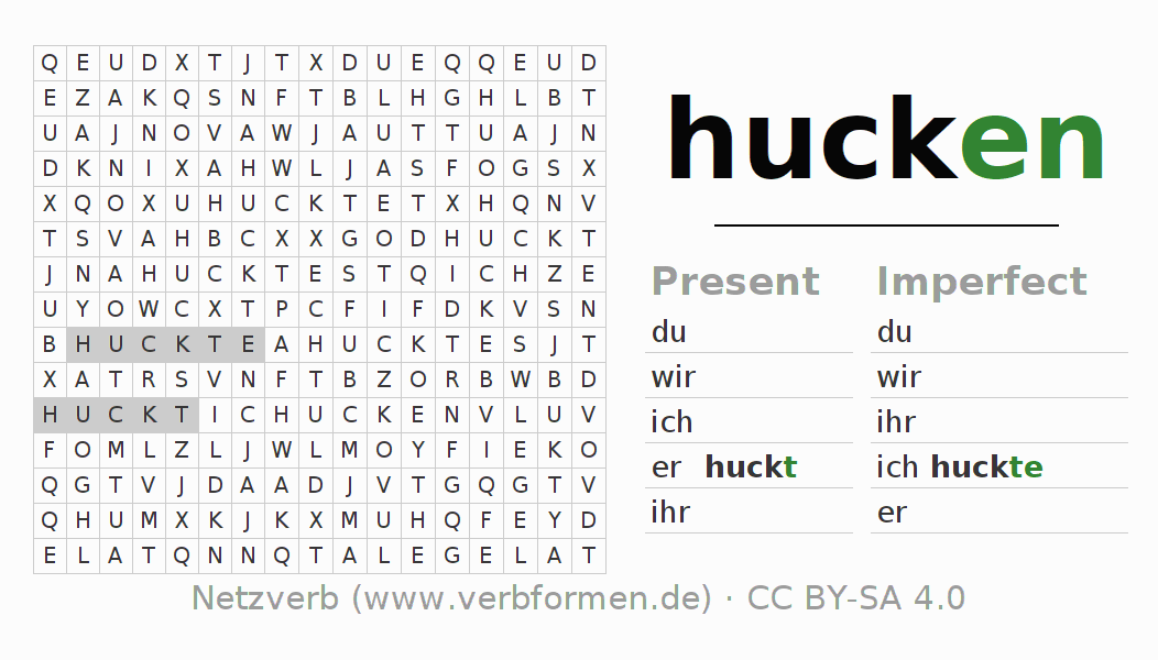 Word search puzzle for the conjugation of the verb hucken