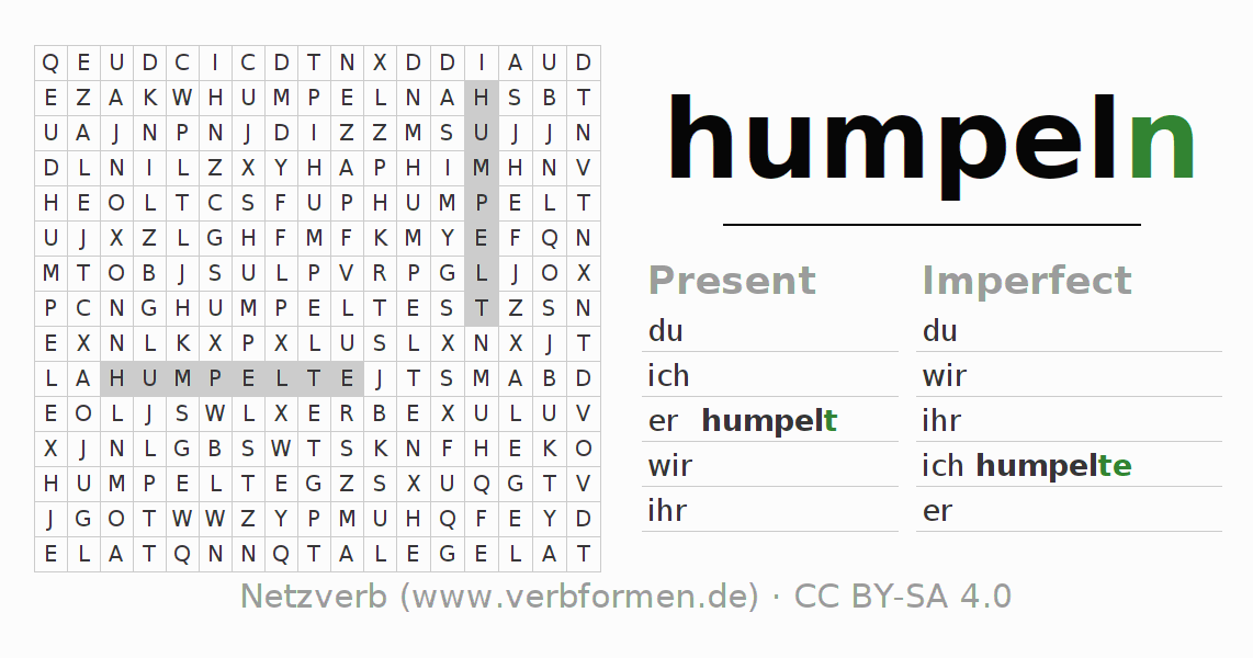 Word search puzzle for the conjugation of the verb humpeln (ist)