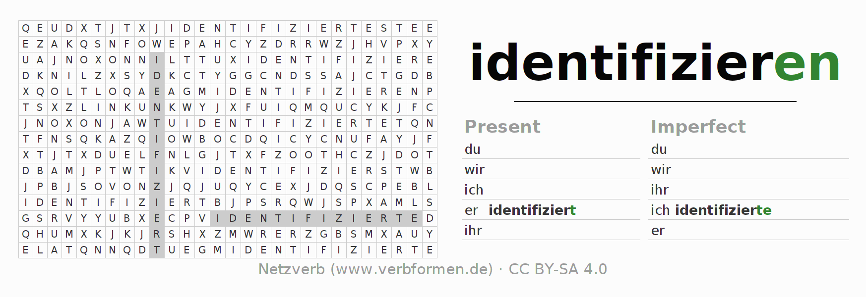 Word search puzzle for the conjugation of the verb identifizieren