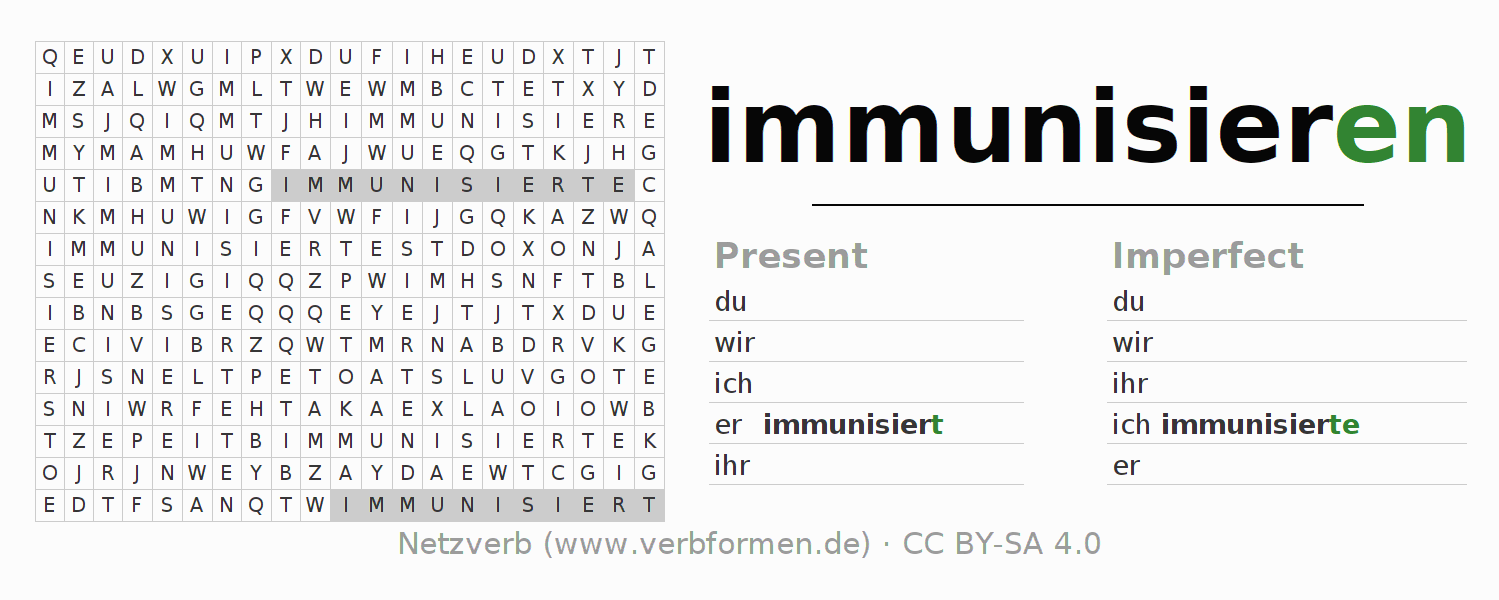 Word search puzzle for the conjugation of the verb immunisieren